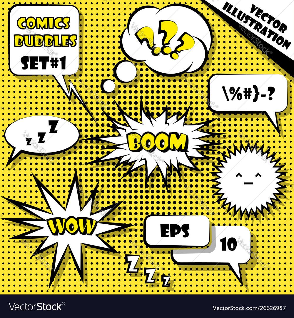 Comic style speech bubbles set 1