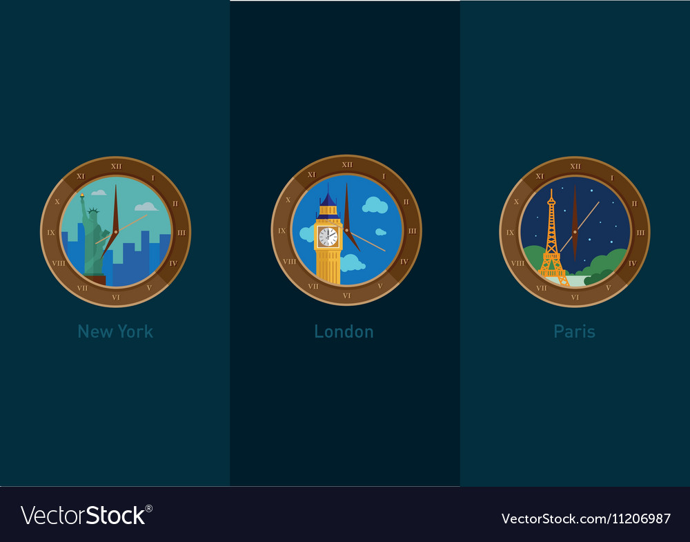 Development of icons on the theme of travel and th vector image