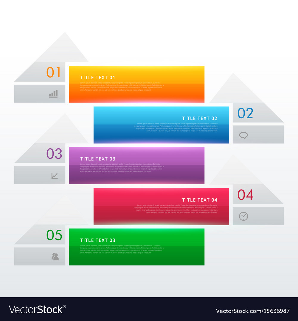 Five steps multi color infographic banners