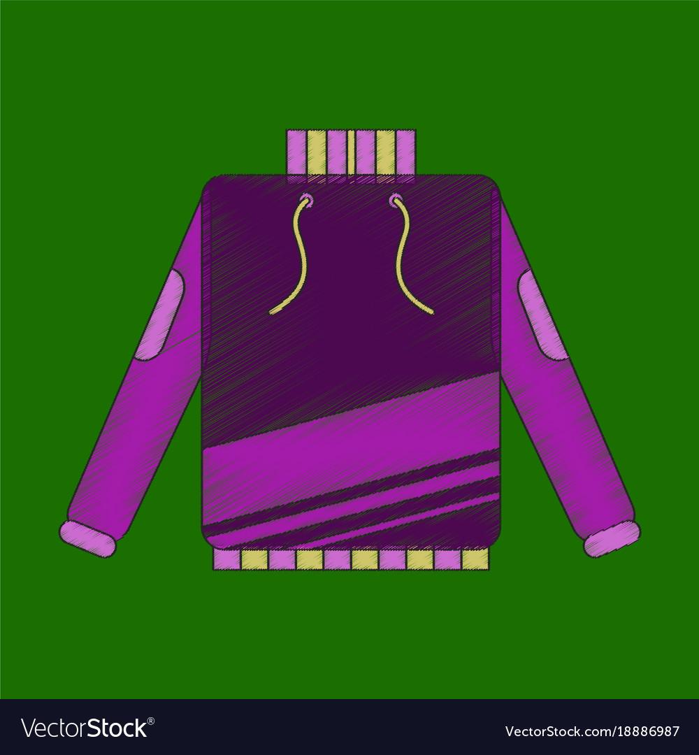 Winter jacket icon flat style
