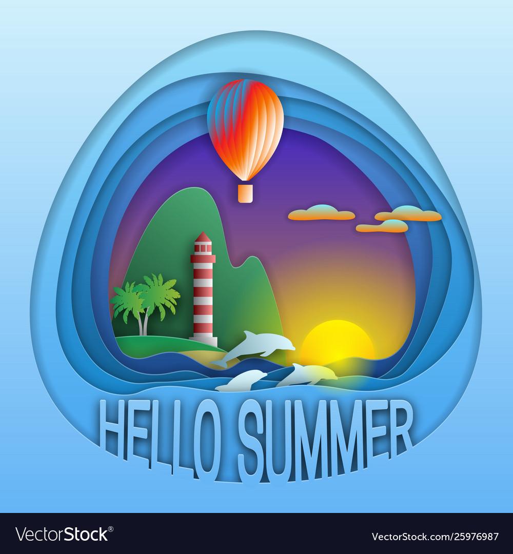 Hello summer logo template sunset with balloon