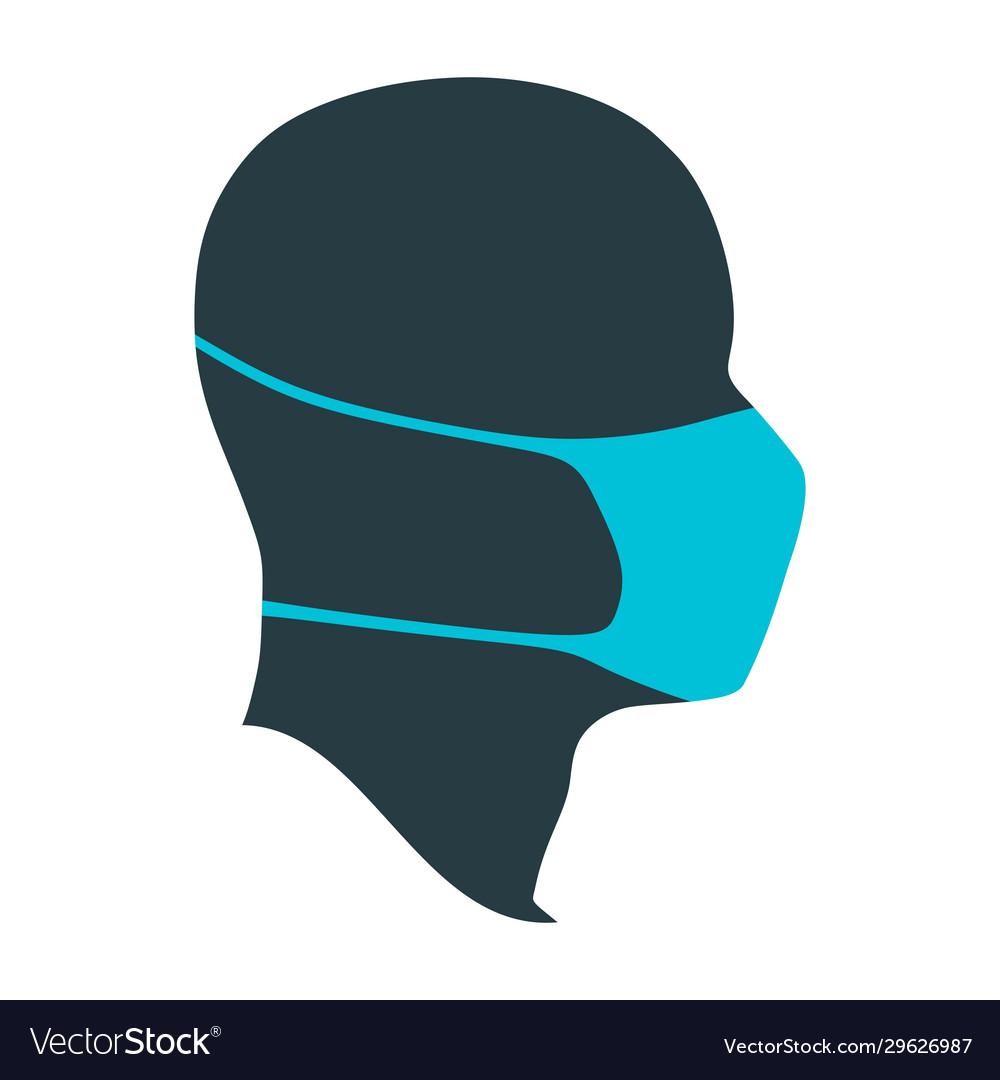 Human wearing a medical mask