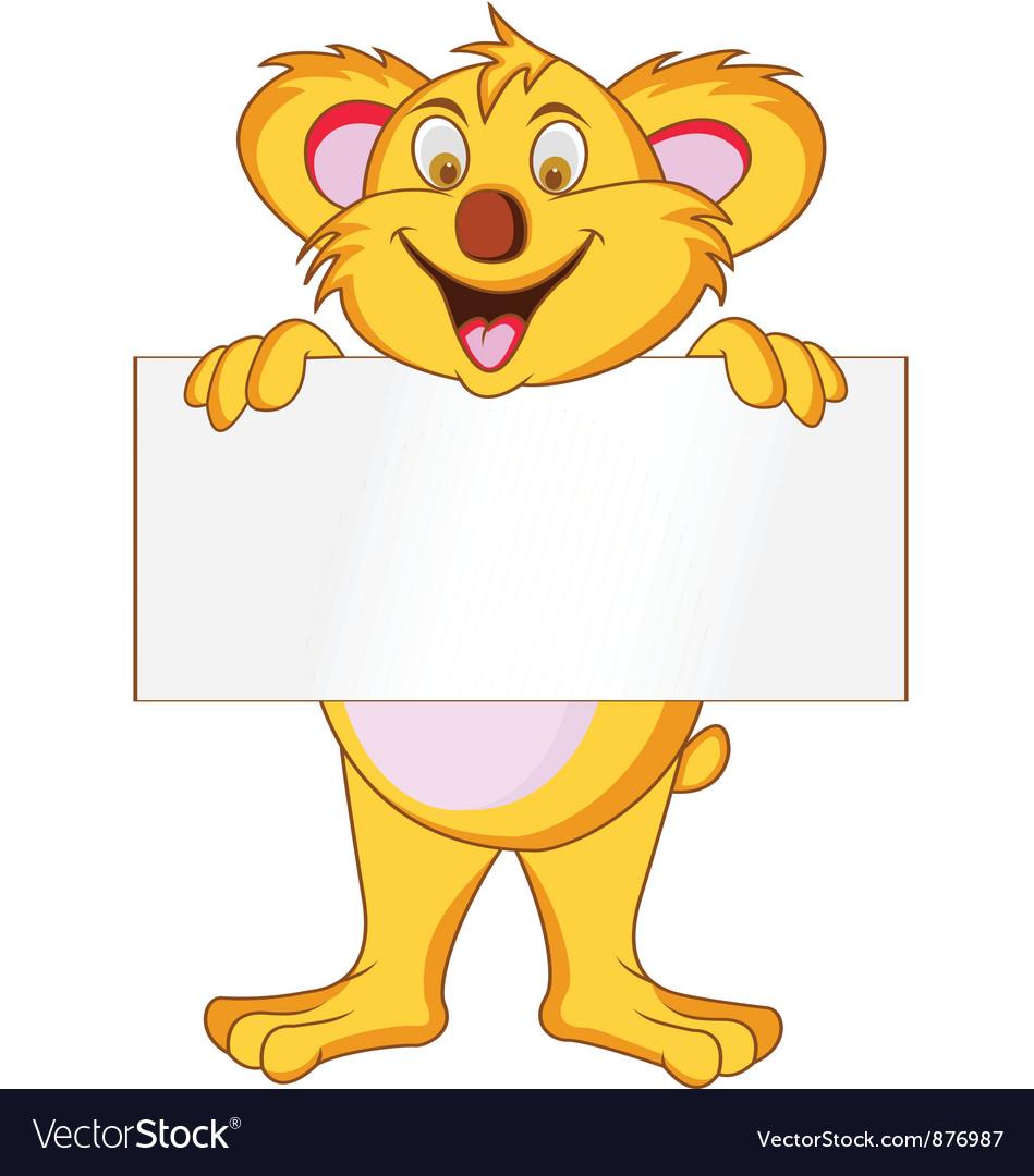 Koala with blank sign vector image