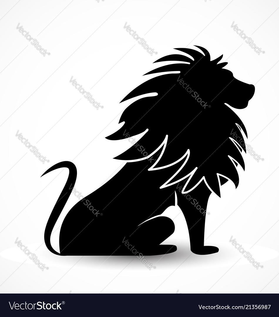 Majestic lion black silhouette icon symbol