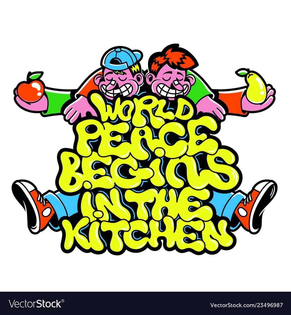 Vegan phrase about peace graffiti lettering print