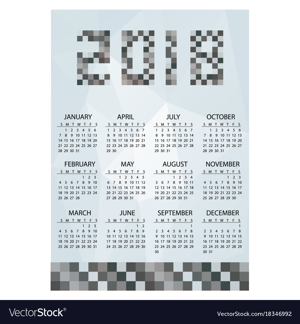 2018 simple business wall calendar grayscale