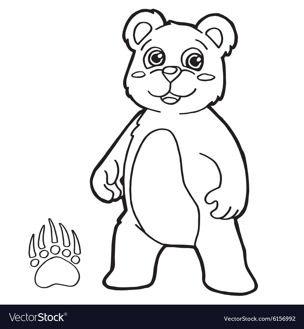 Bear with paw print Coloring Page