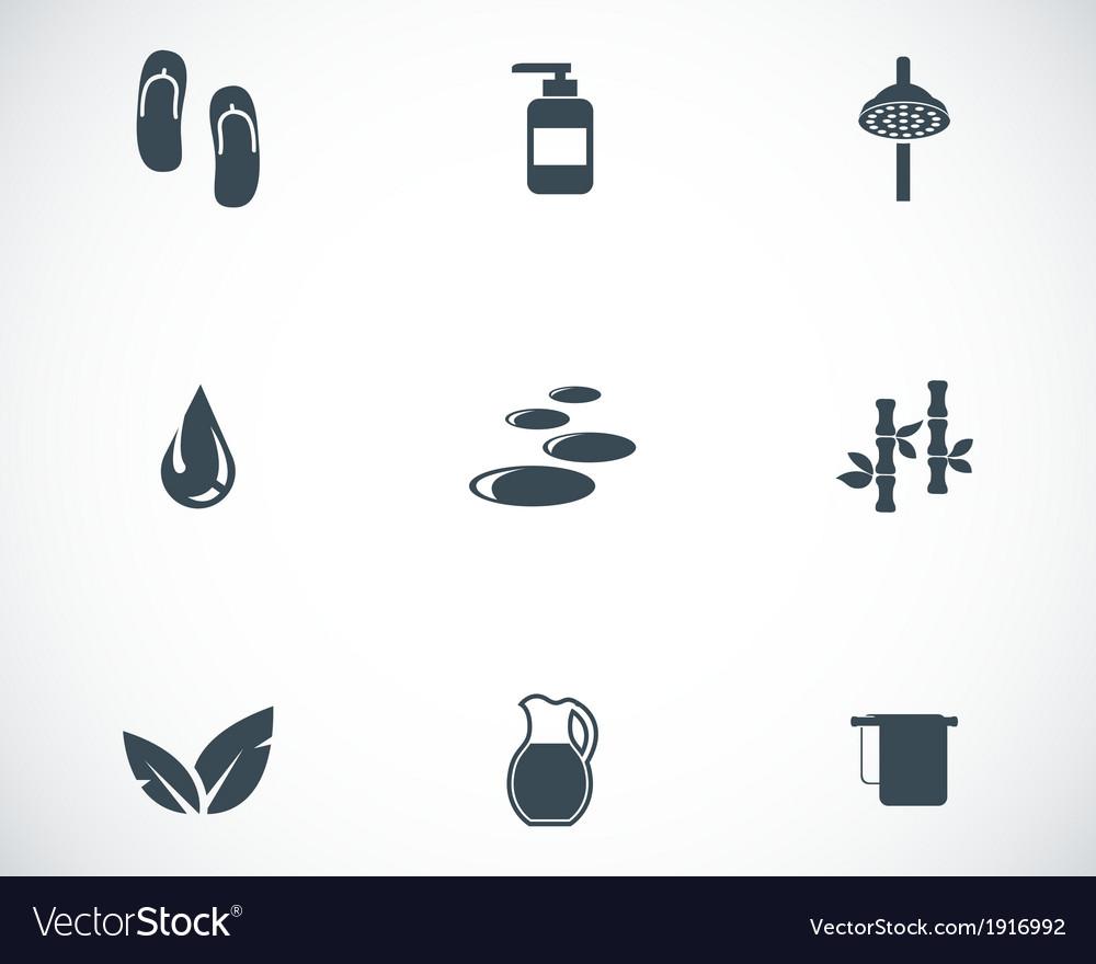 Black spa icons set