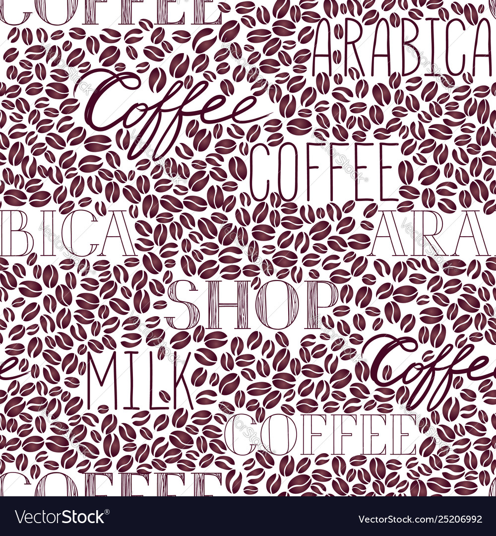 Coffee seamless pattern coffee beans and