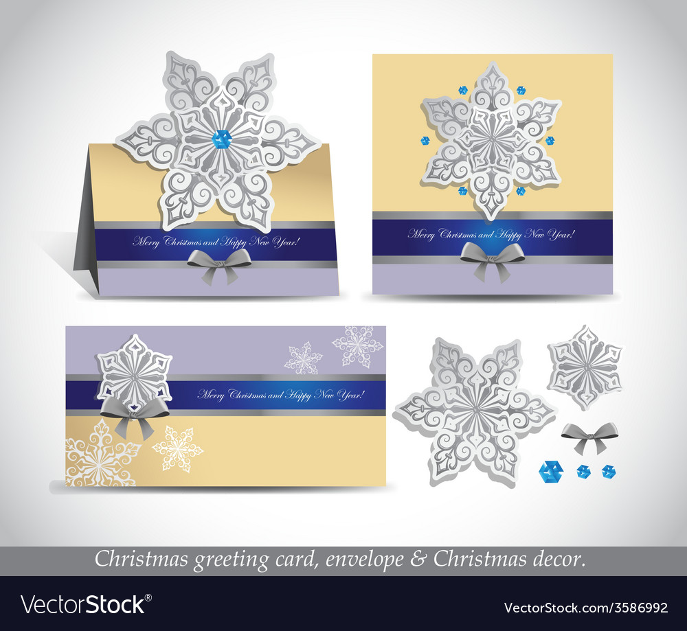 Greeting cards with silver ornate snowflake vector image m4hsunfo