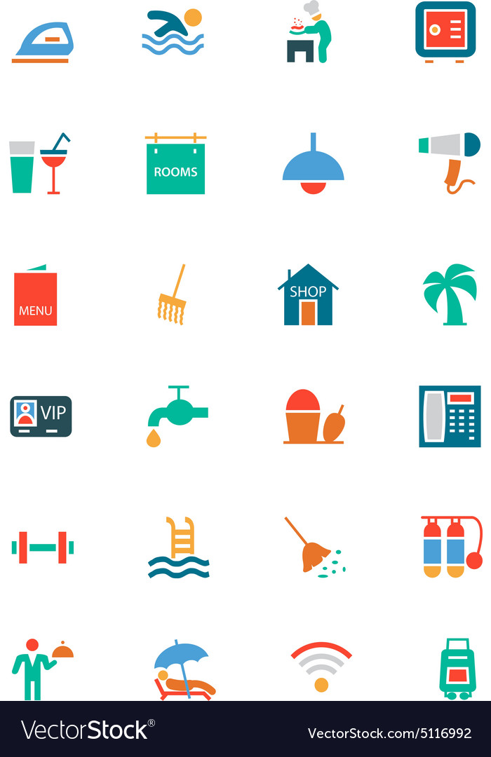 Hotel and Restaurant Colored Icons 2