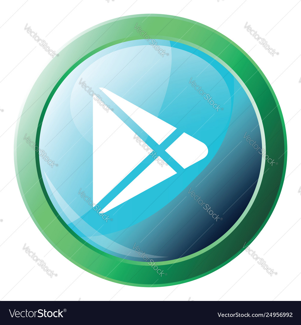 Icon a blue googleplay button with round green