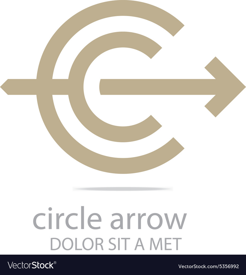 Letter C Arrow Brown Icon Symbol Royalty Free Vector Image