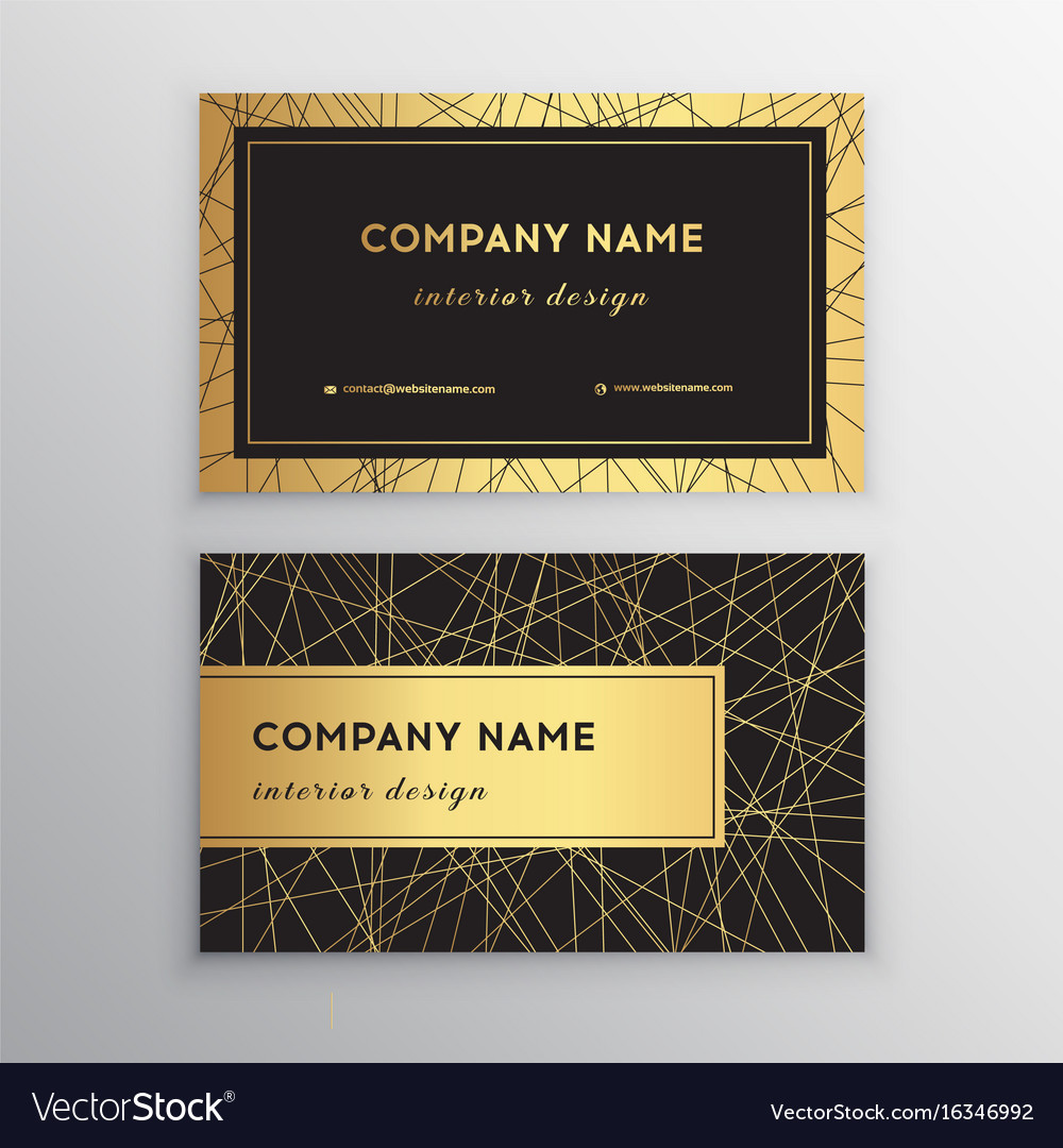 Luxury business card gold and black horizontal Vector Image