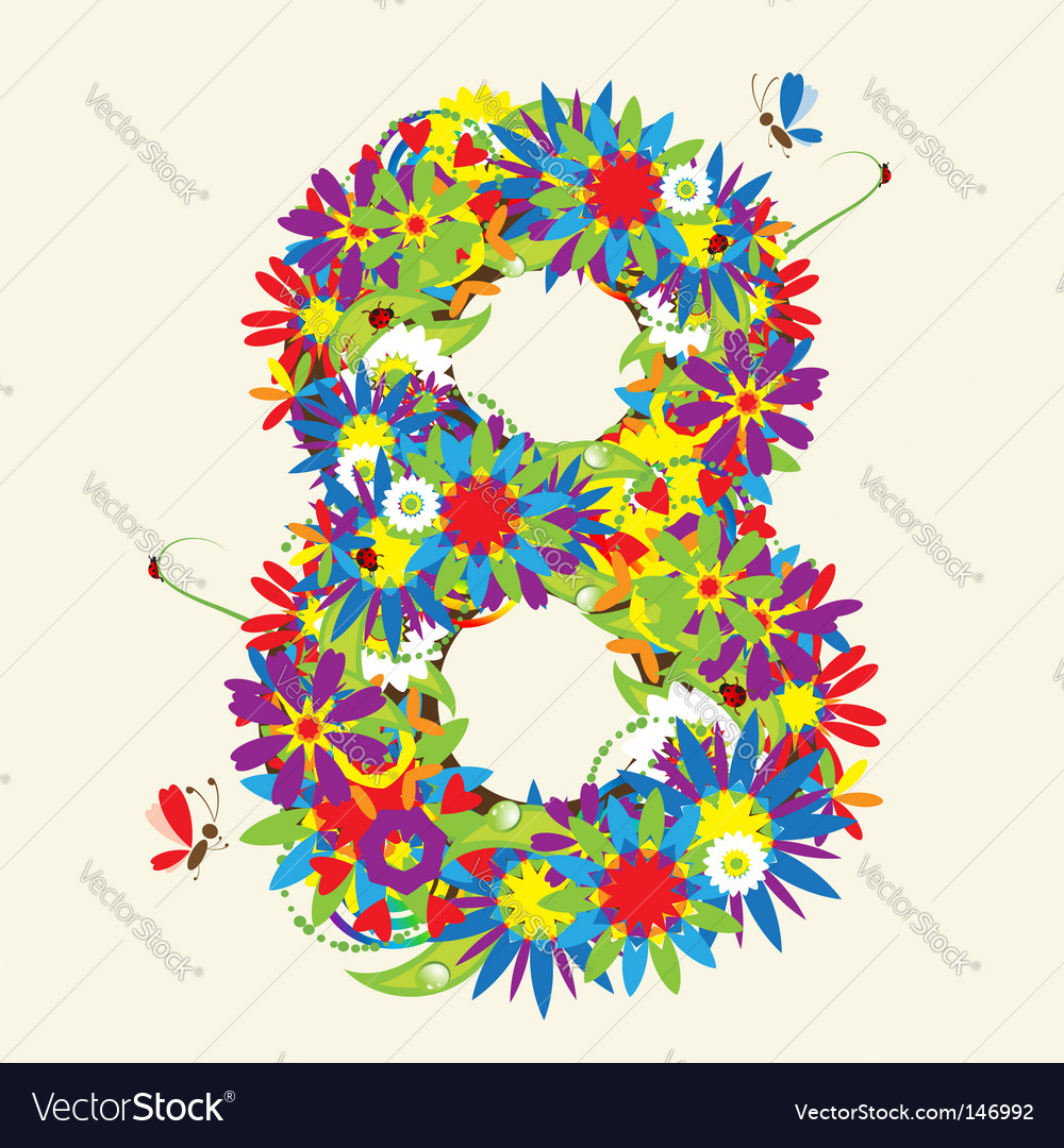 Number 8 floral design vector image