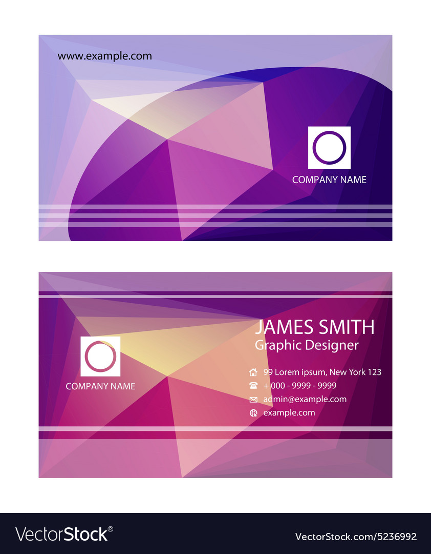 Purple business card templates Royalty Free Vector Image