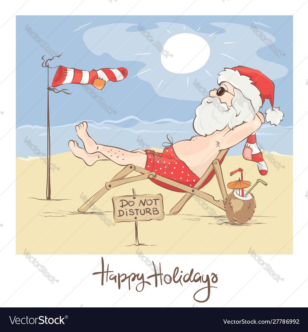 Santa claus beach vacation
