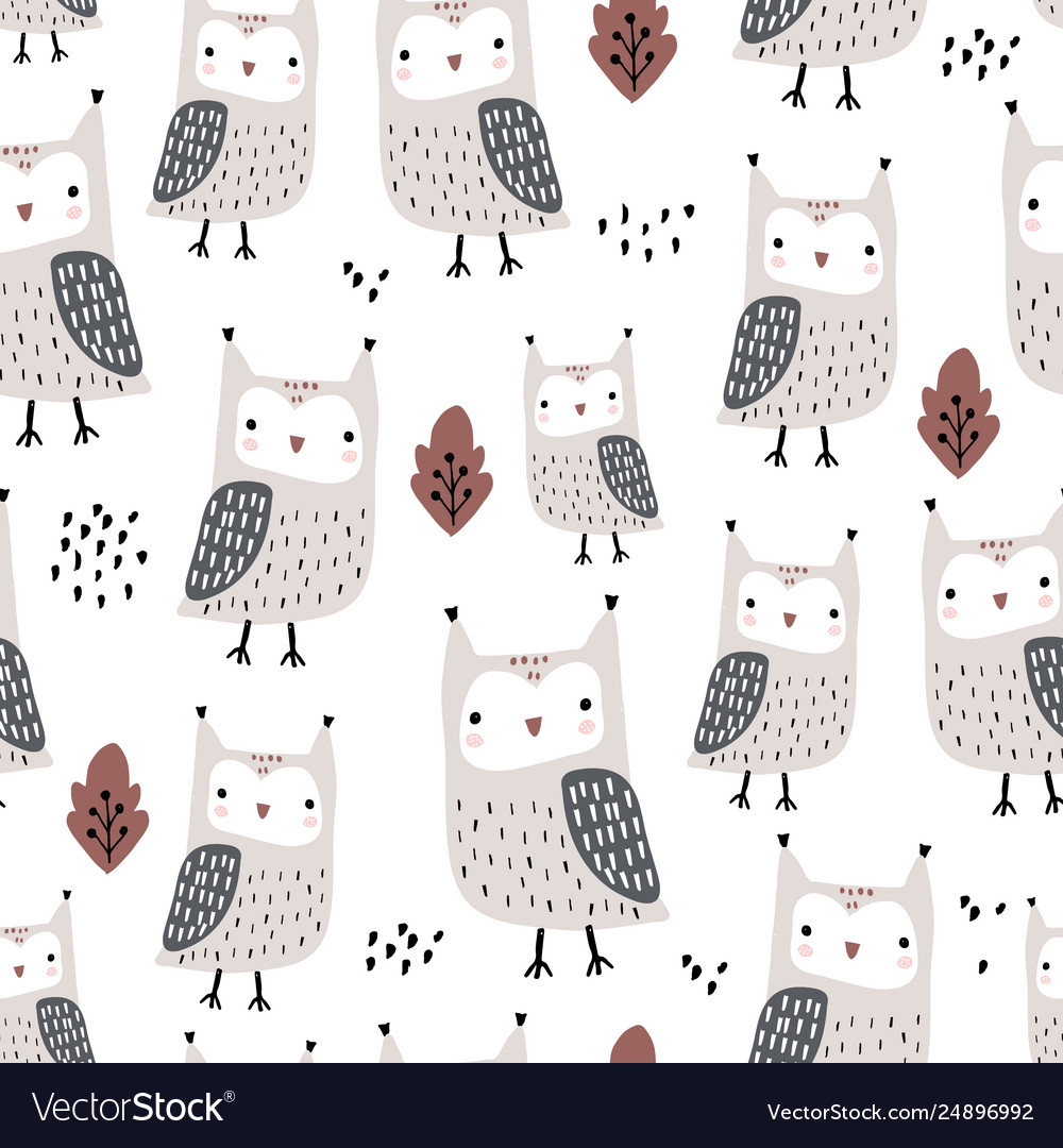 Seamless pattern with owls and leaves creative