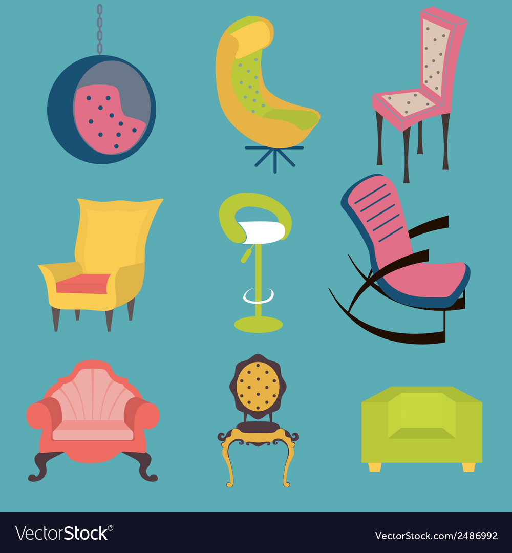 Set of colorful chairs interior detail vector image