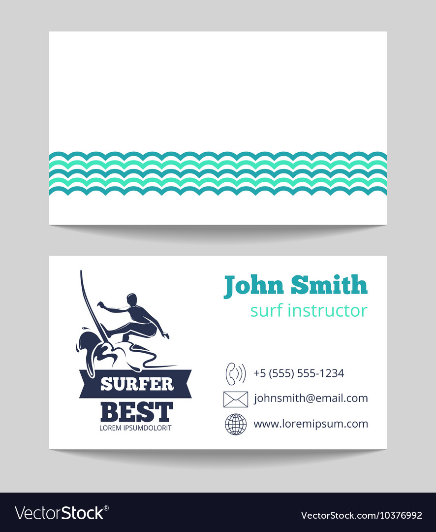 Surf card template with logo