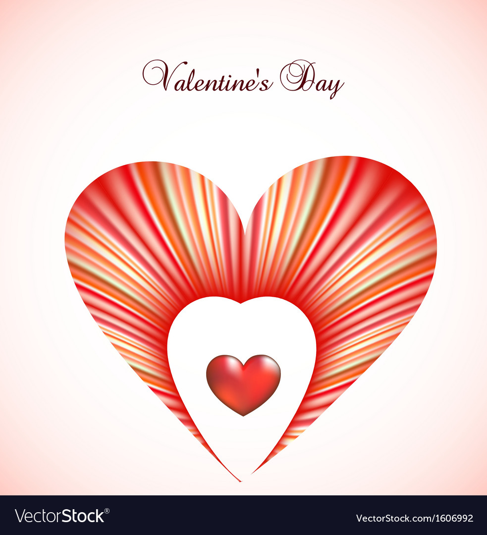 Valentine Day Card Template With Heart Royalty Free Vector