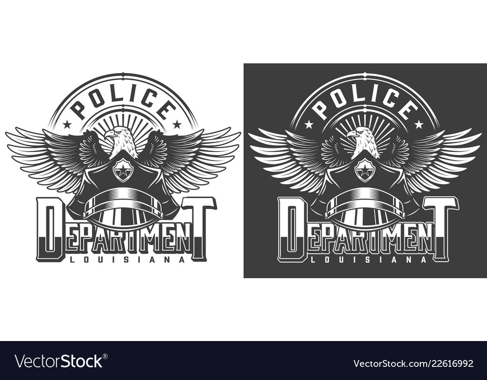 Vintage monochrome police label