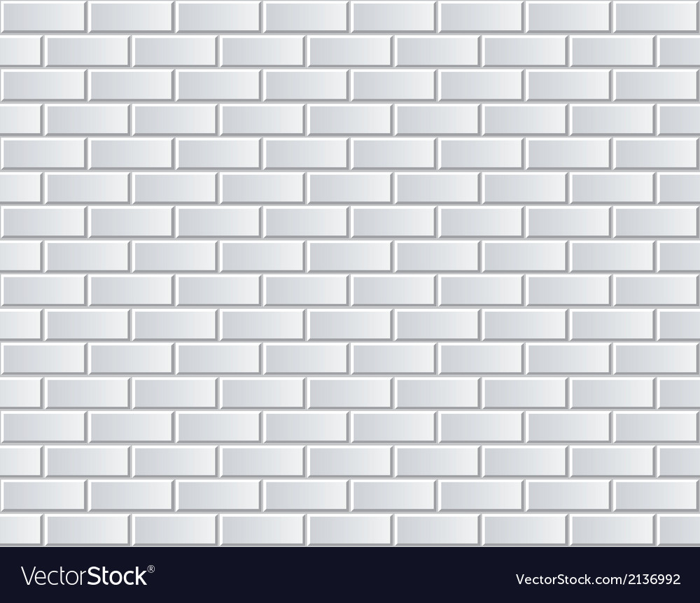 White Brick Wall Seamless Background Vector Image
