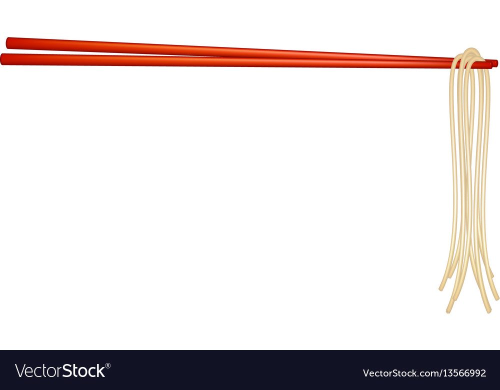 Wooden chopsticks in red design holding noodles