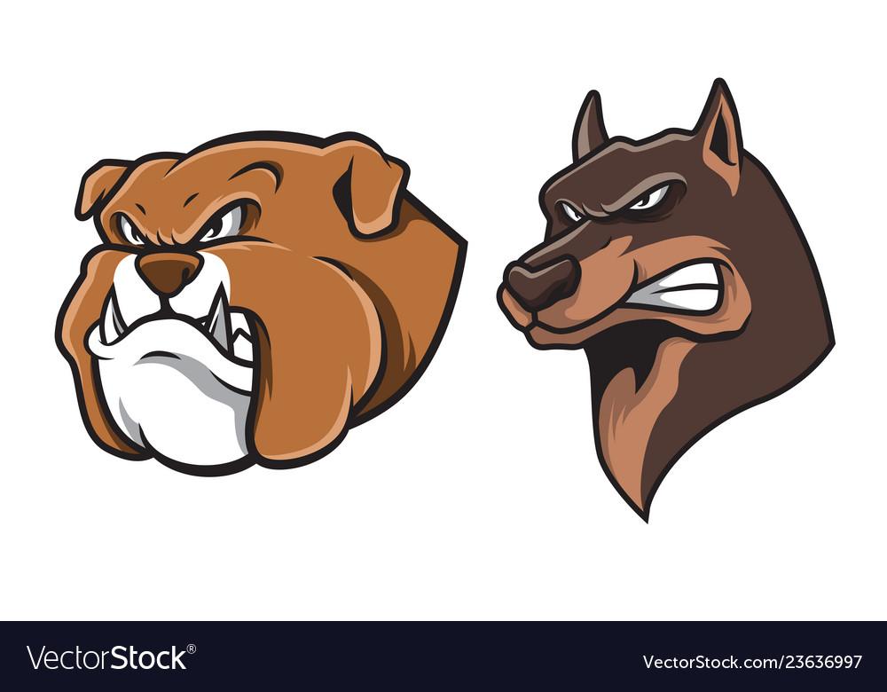 Bulldog and german shepherd head mascot