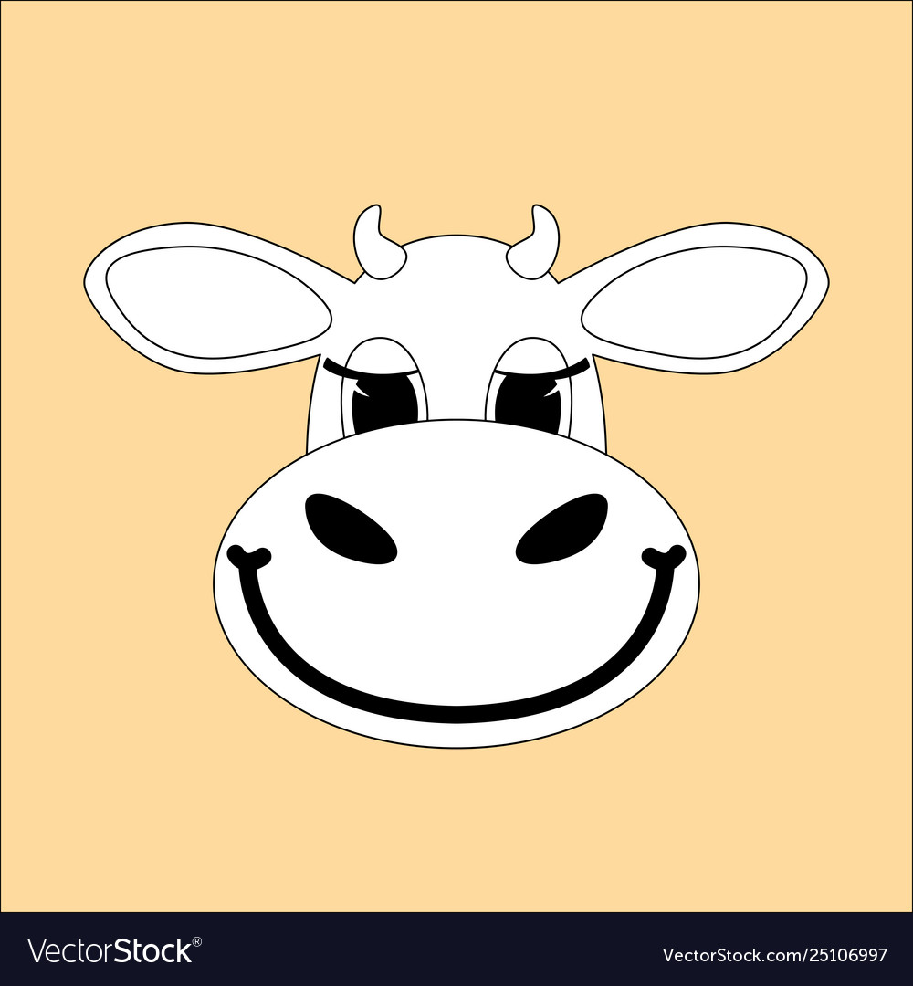 Cartoon cow face flat stylefront view Royalty Free Vector