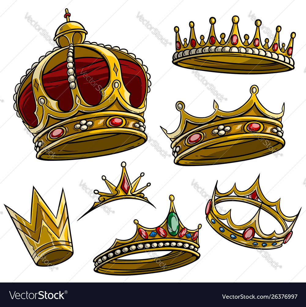 Cartoon Royal King Golden Crown Set Royalty Free Vector The best selection of royalty free cartoon crown king vector art, graphics and stock illustrations. vectorstock
