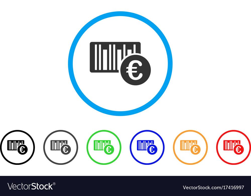 Euro bar code price rounded icon