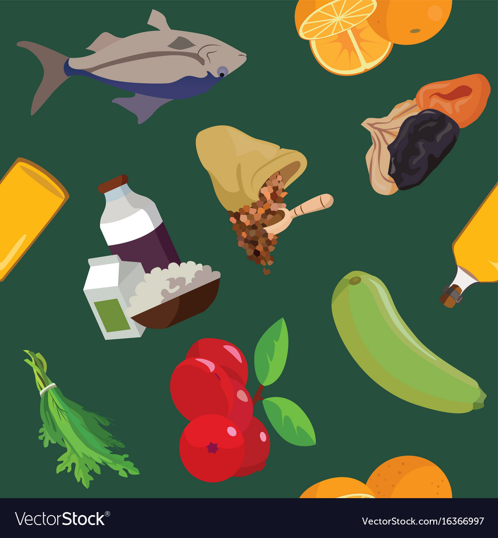 Fish dairy products cereals fruits dried vector image