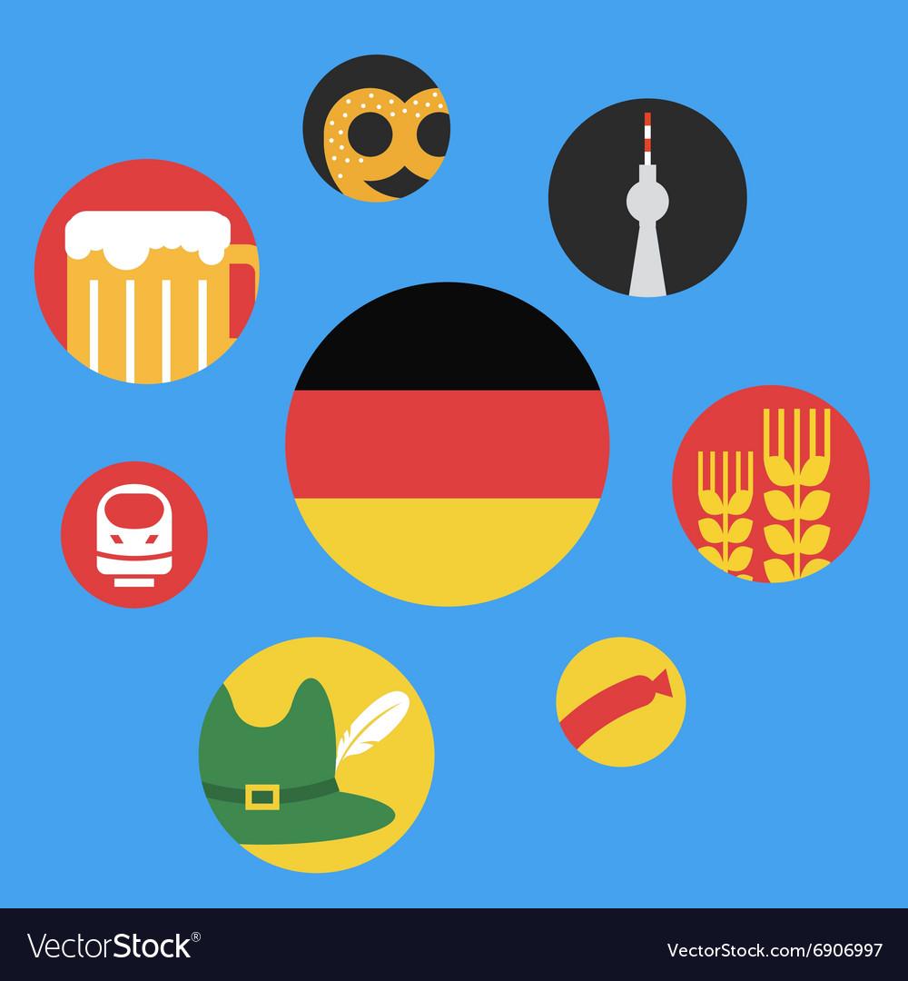 Germany round flat icon set