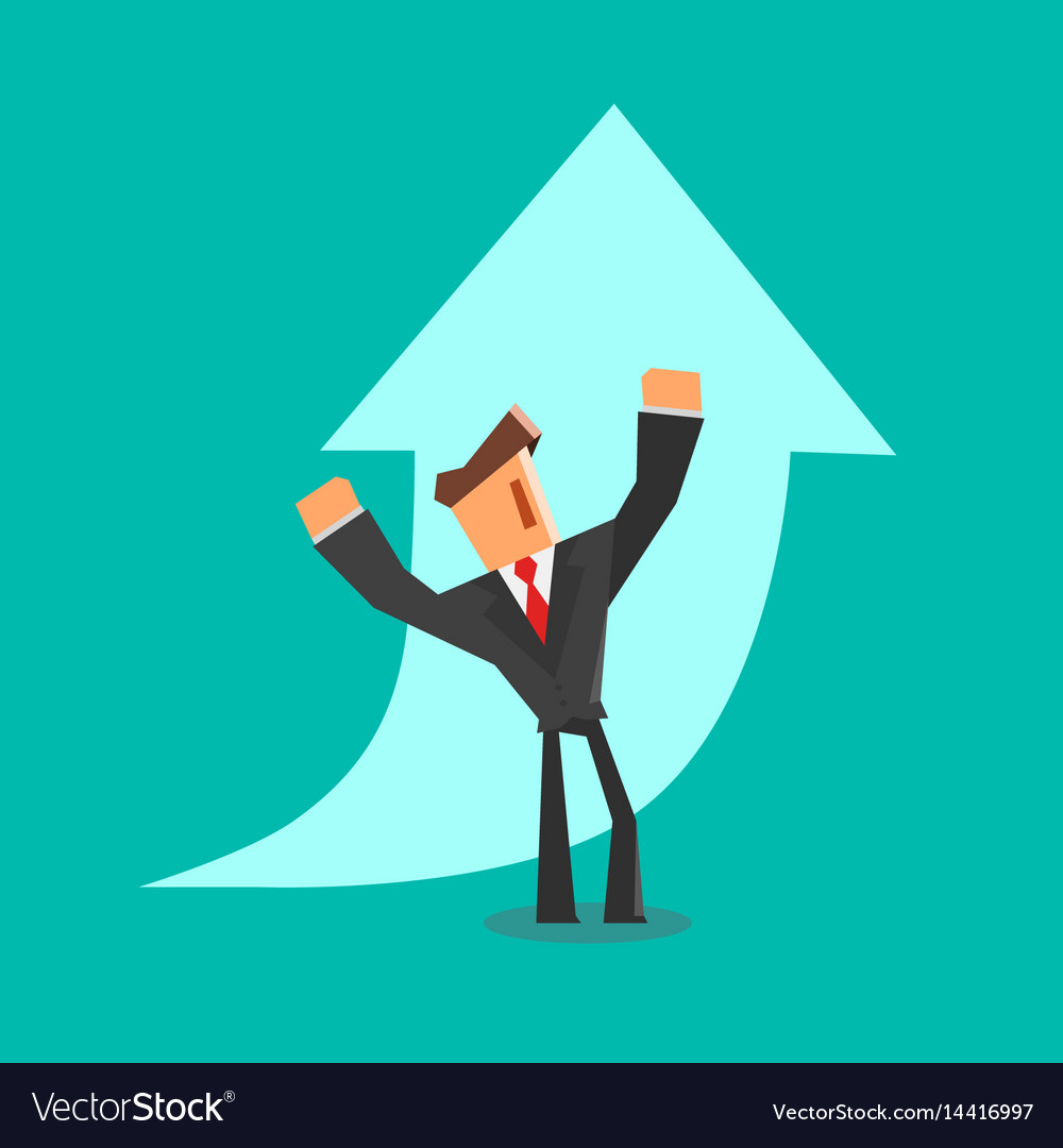 Happy businessman stands in front of a growing vector image