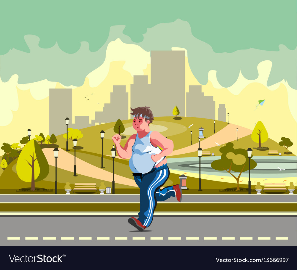 Man running in the park and sweating to lose