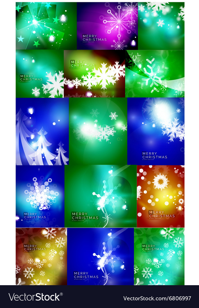 Set of shiny color Christmas backgrounds with
