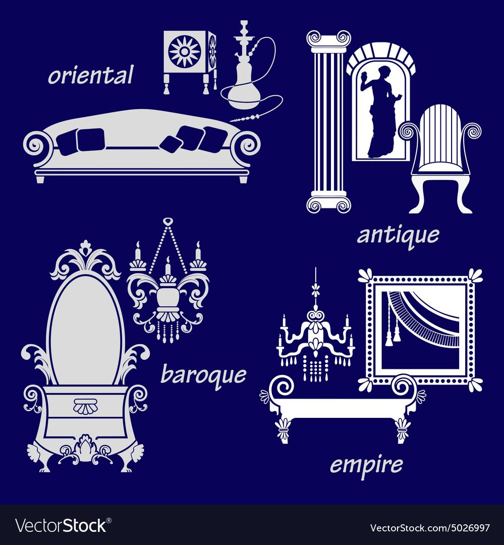 Set styles of interior design