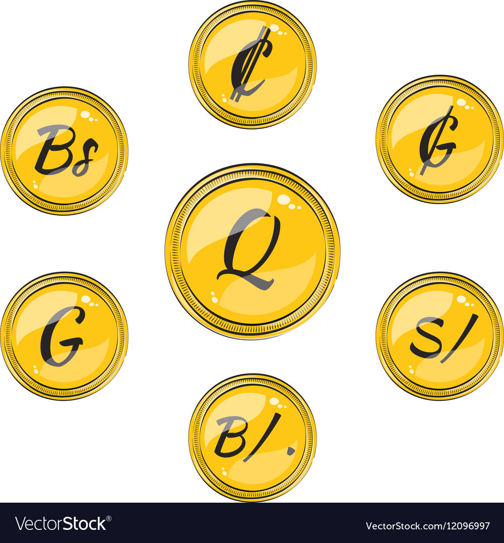 Set With Flat South American Currency Symbols Vector Image
