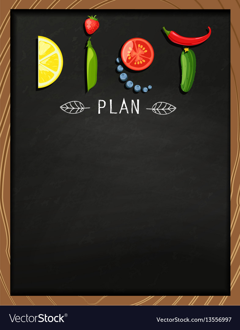 The concept of diet on the chalkboard