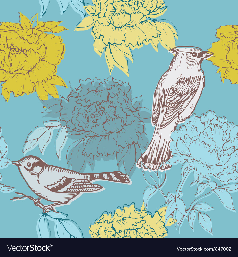 Birds and flowers - seamless pattern vector