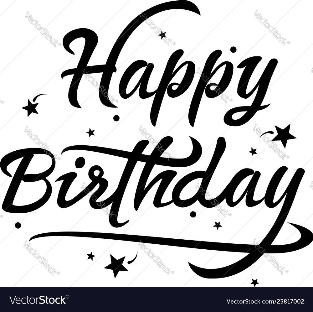 Black and white happy birthday text