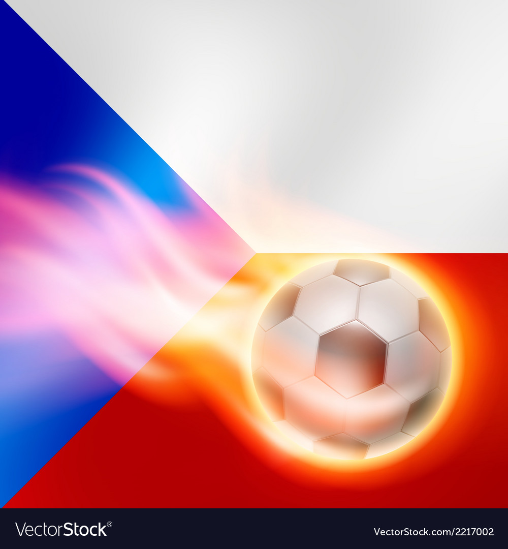 Burning football on Czech Republic flag background