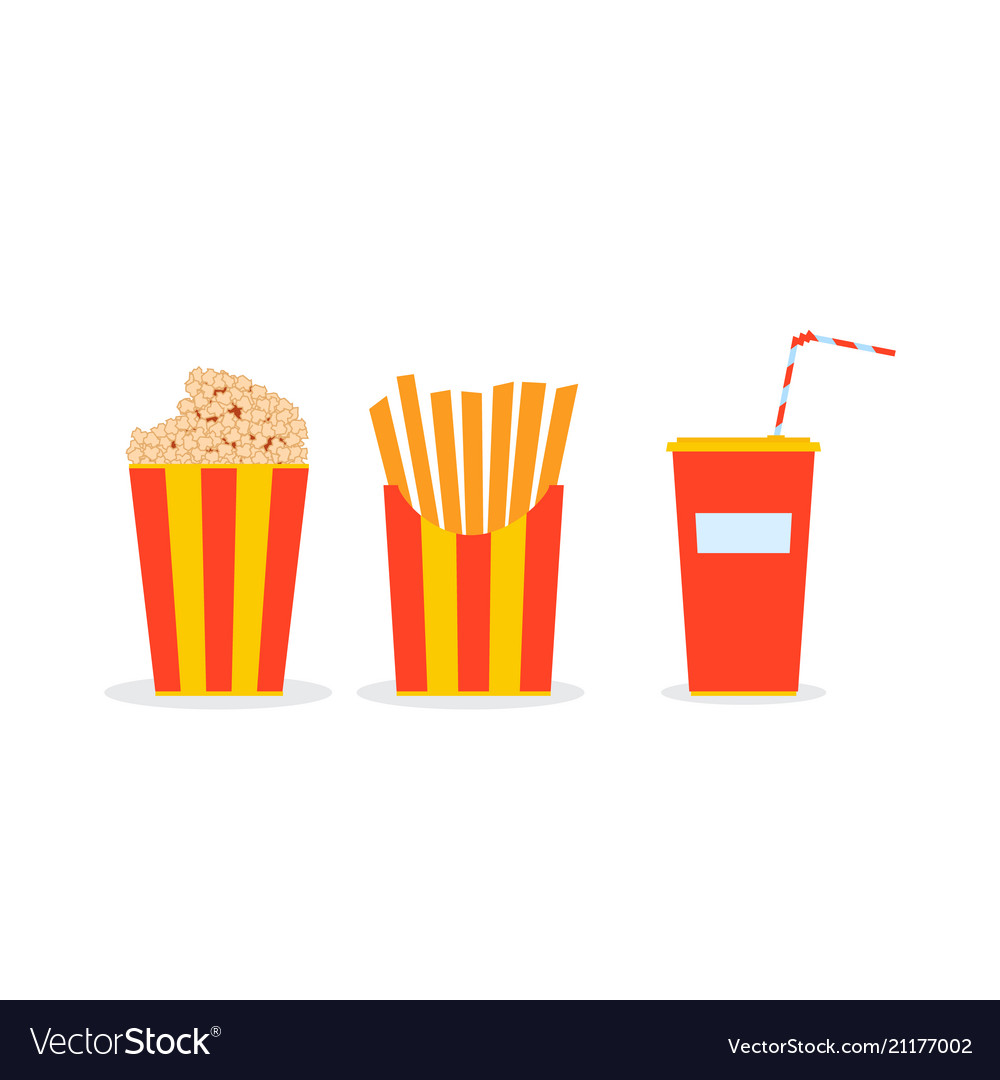 Circus meal in glasses popcorn french fries