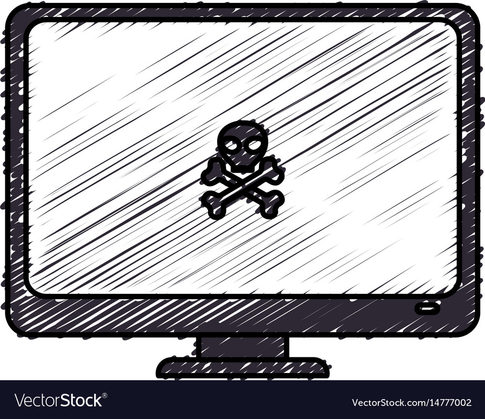 Computer desktop with skull isolated icon