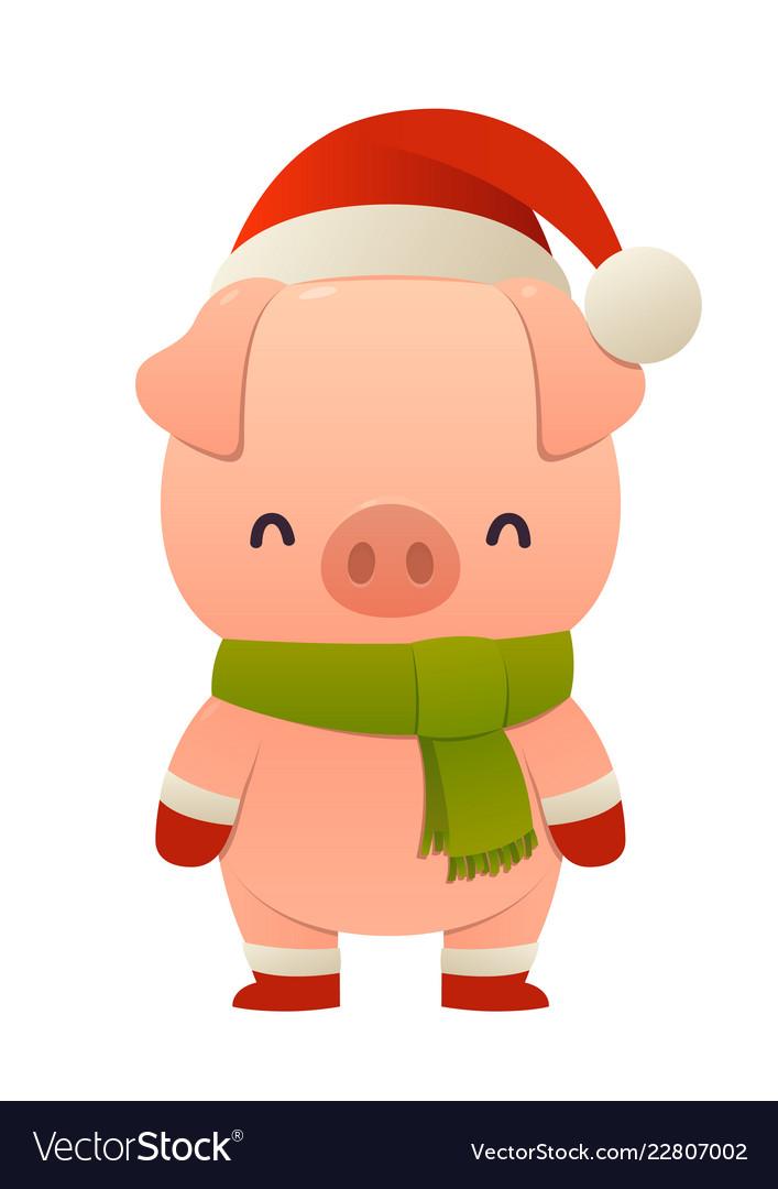 Christmas Hat Cartoon.Cute Pig Cartoon Character In Santa Hat Happy
