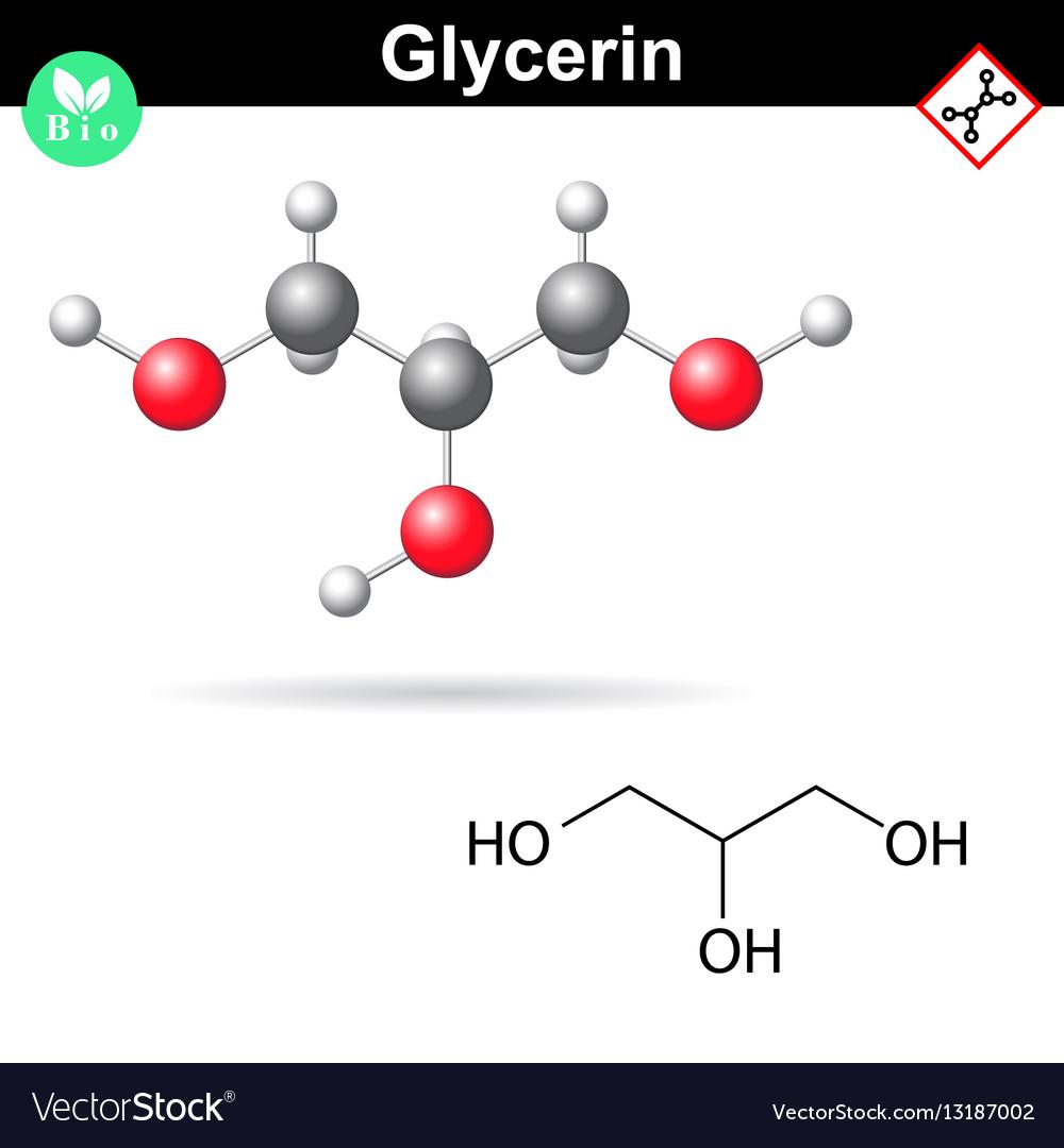 Glycerol chemical formula and 3d model vector image