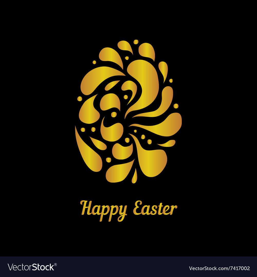 Greeting card with golden easter egg-4 vector image