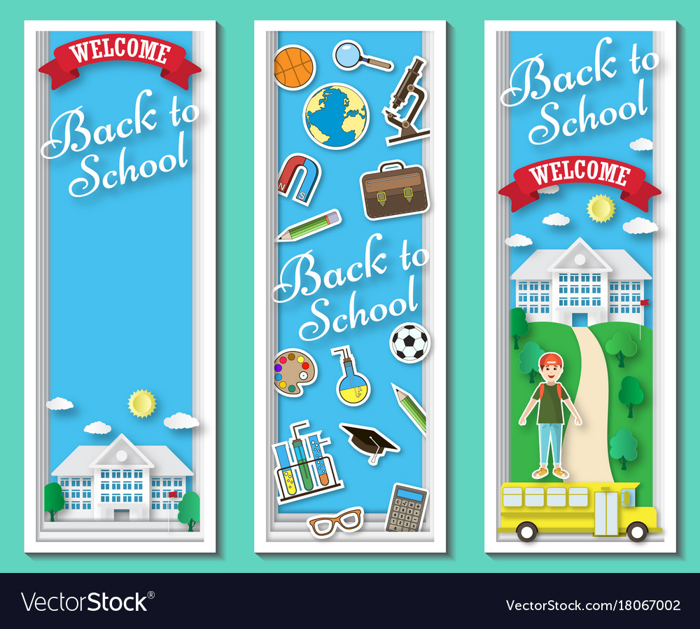 Three vertical back to school frames and Vector Image