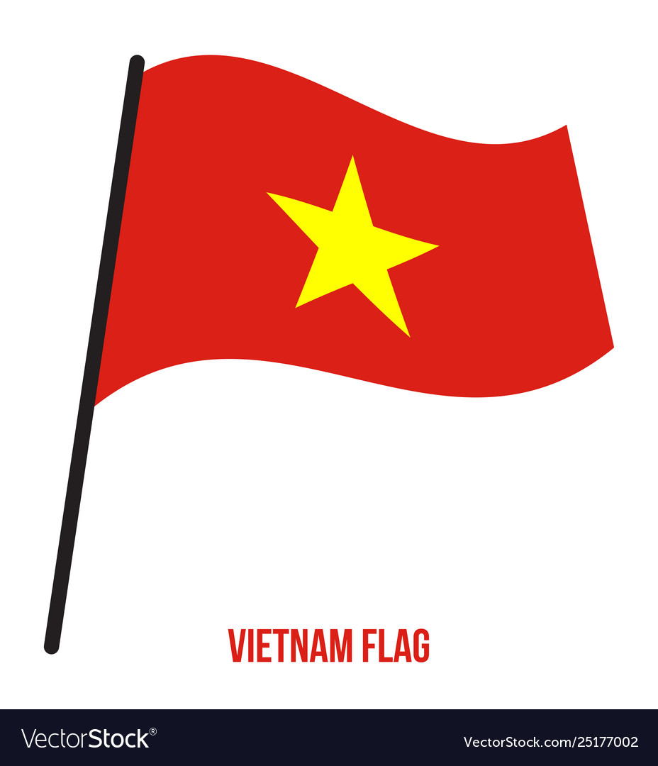 Vietnam Flag Waving On White Background Vietnam Vector Image